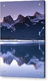 Three Sisters With Crescent Moon Acrylic Print by Richard Berry