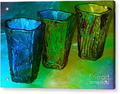Three Smoke Fired Vases Acrylic Print by Joan-Violet Stretch