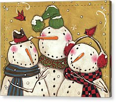 Three Snowmen Acrylic Print by Anne Tavoletti