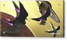 Three Spacecraft Pass By One Of Saturns Acrylic Print by Corey Ford