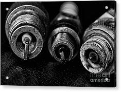 Three Spark Plugs Black And White Acrylic Print by Wilma  Birdwell