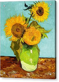 Three Sunflowers In A Vase Acrylic Print