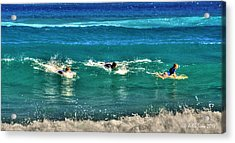 Acrylic Print featuring the pyrography Three Surfers And Blue Water by Julis Simo