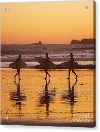 Three Surfers At Sunset Acrylic Print