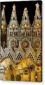 Three Tiers - Sagrada Familia At Night - Gaudi Acrylic Print