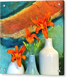 Three Tigerlilies In A Vase Acrylic Print by Marsha Heiken