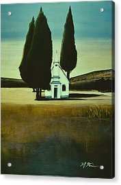 Three Trees And A Church Acrylic Print