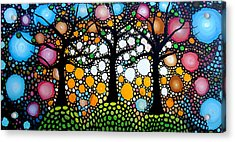 Three Trees On A Hill Acrylic Print