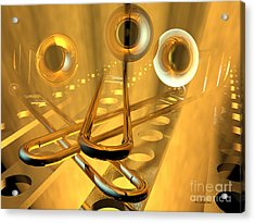 Three Trombones Acrylic Print by R Muirhead Art