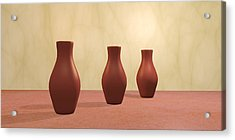 Acrylic Print featuring the digital art Three Vases by Gabiw Art