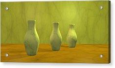 Acrylic Print featuring the digital art Three Vases II by Gabiw Art
