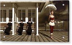 Three Victorian Ladies Sepia Acrylic Print