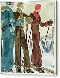 Three Women On The Ski Slopes Wearing Suits Acrylic Print