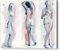 Three Women Pink And Blue Watercolor Nude Figure Painting Acrylic Print