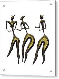 Three Women - Primitive Art Acrylic Print