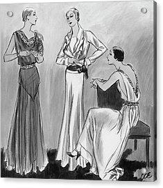 Three Women Wearing Designer Evening Gowns Acrylic Print by Creelman