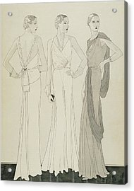 Three Women Wearing Evening Dresses By Maggy Acrylic Print