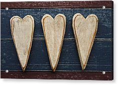 Three Wooden Hearts Acrylic Print by Carol Leigh