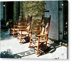 Three Wooden Rocking Chairs On Sunny Porch Acrylic Print by Susan Savad