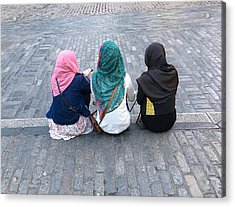 Three Young Muslim Girls Acrylic Print by Montes-Bradley