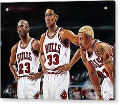 Threepeat - Chicago Bulls - Michael Jordan Scottie Pippen Dennis Rodman Acrylic Print by Prashant Shah