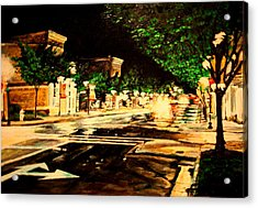 Through Some Place A Rainy Night Acrylic Print by Thomas Akers