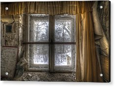 Through The Dirty Window Acrylic Print by Nathan Wright