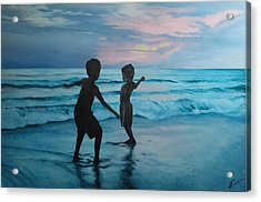 Throwing Sand Acrylic Print
