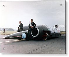 Thrust Ssc Supersonic Car And Team Acrylic Print by Science Photo Library