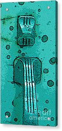 Thumb Slide For A Painter In Teal Acrylic Print by Cathy Peterson