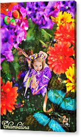 Thumbelina Looks Up Holding Her Butterfly In Fairy Tale Garden Acrylic Print by Fairy Tales Imagery Inc