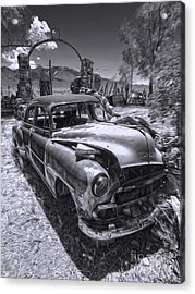 Thunder Mountain Indian Monument -  Car Wreck Acrylic Print by Gregory Dyer