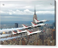 Thunderbirds Over New York City Acrylic Print by U S A F