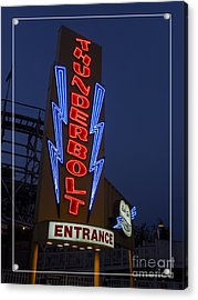 Thunderbolt Rollercoaster Neon Sign Acrylic Print by Edward Fielding