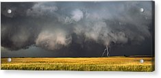 Thunderstorm Advancing Over A Field Acrylic Print