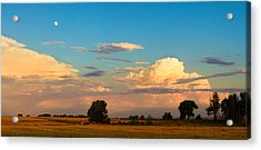 Thunderstorm Front Blue Sky And Moon Panorama Acrylic Print by James BO  Insogna