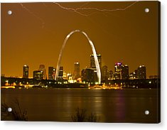 Thunderstorm Over The City Acrylic Print by Garry McMichael