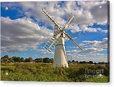 Thurne Dyke Windpump On The Norfolk Broads Acrylic Print by Louise Heusinkveld