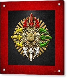 Tibetan Double Dorje Mandala - Double Vajra On Black And Red Acrylic Print by Serge Averbukh