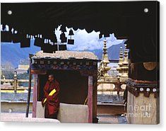 Tibetan Monk With Scroll On Jokhang Roof Acrylic Print by Anna Lisa Yoder