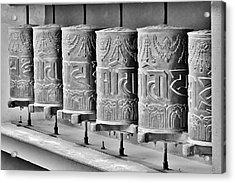 Tibetan Prayer Wheels - Black And White Acrylic Print by Kim Bemis