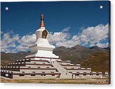Tibetan Stupa Near Daocheng, Sichuan Acrylic Print by Howie Garber