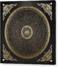 Tibetan Thangka - Green Tara Goddess Mandala With Mantra In Gold On Black Acrylic Print