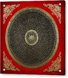 Tibetan Thangka - Green Tara Goddess Mandala With Mantra In Gold On Red Acrylic Print