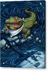 Tick-tock Crocodile Acrylic Print by Isabella Kung
