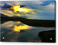 Acrylic Print featuring the photograph Tidal Pond Sunset New Zealand by Amanda Stadther