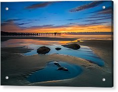 Tide Pool Reflections At Scripps Pier Acrylic Print by Larry Marshall