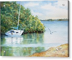 Acrylic Print featuring the painting Tide's Out by Roger Rockefeller