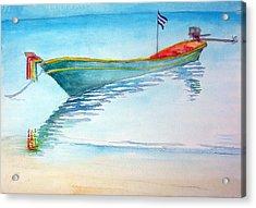 tied up on Bali beach Acrylic Print by Jack Adams