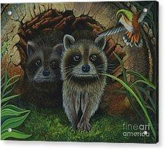 Tiffany And Raccoons Acrylic Print